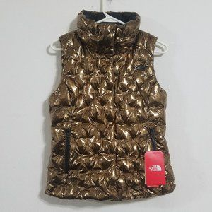 NEW North Face Womens Small Gold Black Puffer Vest